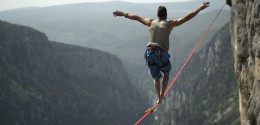 Man in a tight rope