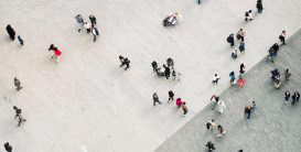People walking in a square